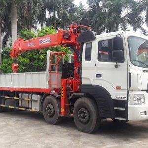 Xe tải Hyundai 4 chân gắn cẩu kanglim 10 tấn