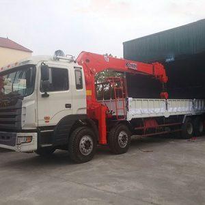 Xe tải JAC 4 chân gắn Cẩu Kanglim 10 tấn